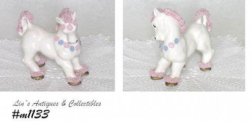 KREISS CERAMICS -- WHITE HORSE WITH PINK SPAGHETTI!