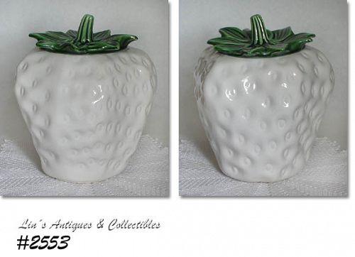 McCOY POTTERY -- WHITE STRAWBERRY COOKIE JAR