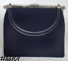 "VINTAGE L AND M ""RIGID REVERSIBLE"" BLACK HANDBAG PURSE BY EDWARDS"