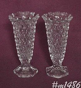 "FOSTORIA -- PAIR OF BUD VASES (6"")"