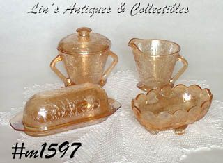 JEANNETTE GLASS CO -- FLORAGOLD (4 PIECES)
