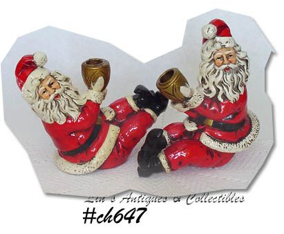 PAIR OF VINTAGE SANTA CANDLEHOLDERS BOOK PIECES!!