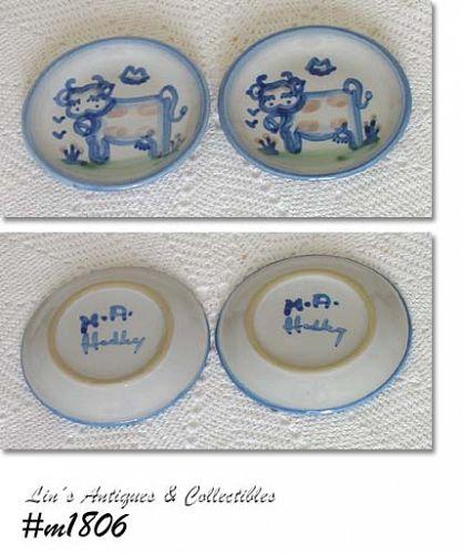 LOUISVILLE STONEWARE - M.A. HADLEY, 2 COW PLATES/SAUCER