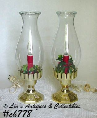 PAIR OF VINTAGE HOLIDAY HURRICANE STYLE ELECTRIC LAMPS