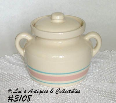 McCOY POTTERY -- PINK AND BLUE BEAN POT/CANISTER