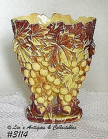 """McCOY POTTERY -- """"GRAPES"""" VASE (YELLOW W/BROWN)"""