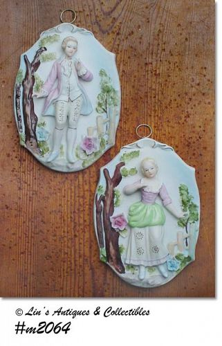LEFTON -- COLONIAL COUPLE WALL PLAQUES