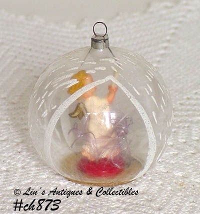 VINTAGE GLASS CHRISTMAS ORNAMENT WITH ANGEL INSIDE MADE IN W. GERMANY