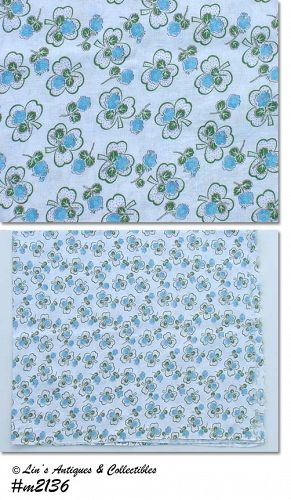 GREEN CLOVERS AND BLUE ROSES VINTAGE FEED SACK FEEDSACK
