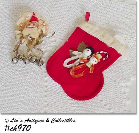 SMALL FELT STOCKING AND A DOORKNOB COVER