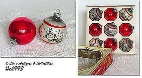 VINTAGE SNOWMAN AND SOLID RED SHINY BRITE ORNAMENTS NINE IN BOX