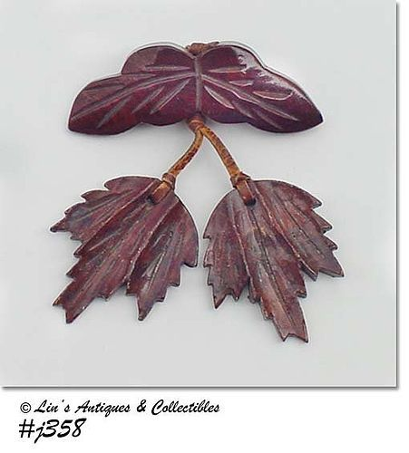 """WOODEN PIN WITH WOOD """"DANGLE"""" LEAVES"""