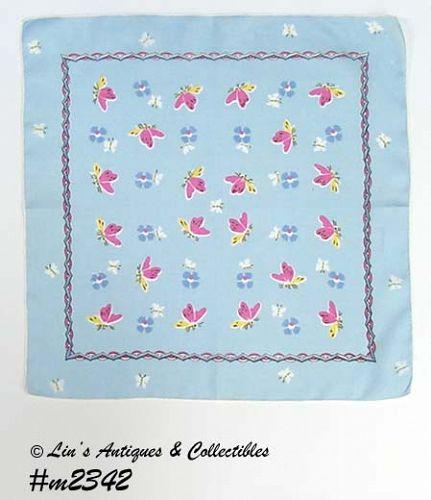 VINTAGE BLUE WITH LOTS OF BUTTERFLIES HANDKERCHIEF