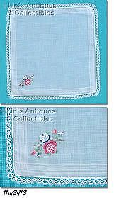 HANDKERCHIEF, WHITE WITH PETIT POINT ROSES, TATTING