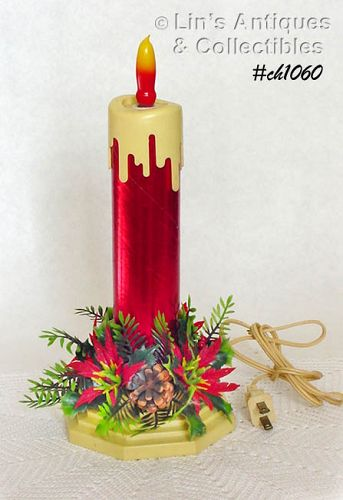 Vintage Christmas Candles.Vintage Electric Christmas Candle With Original Plastic Greenery Item 613776