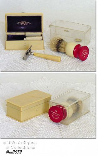 IVOGUE RAZOR IN CELLULOID BOX AND A SHAVING BRUSH