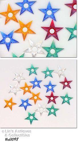 LOT OF 17 VINTAGE PLASTIC STAR SHAPED CHRISTMAS TREE LIGHT REFLECTORS