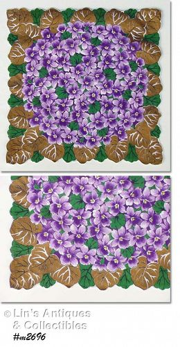 BOUQUET OF VIOLETS HANKY WITH GOLD PAINTED LEAVES