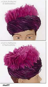 PURPLE FEATHERS HAT BY SEARS MILLINERY