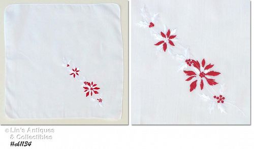 EMBROIDERED RED AND WHITE POINSETTIAS HANKY