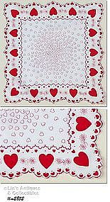RED AND WHITE HEARTS VALENTINE HANKY