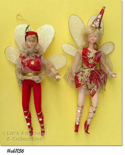 PAIR OF SILVESTRI FAIRIES ORNAMENTS