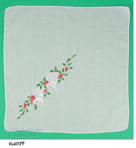 BELLS AND HOLLY CHRISTMAS HANDKERCHIEF