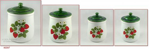McCOY POTTERY – STRAWBERRY COUNTRY CANISTER SET