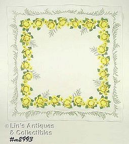 HANDKERCHIEF WITH YELLOW ROSES AND FERN FRONDS