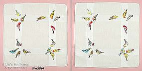 TWO HANDKERCHIEFS WITH ASSORTED COLORFUL BIRDS!!