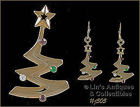 EISENBERG ICE – CHRISTMAS TREE PIN AND EARRINGS