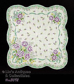 HANDKERCHIEF WITH BOUQUETS OF PURPLE FLOWERS