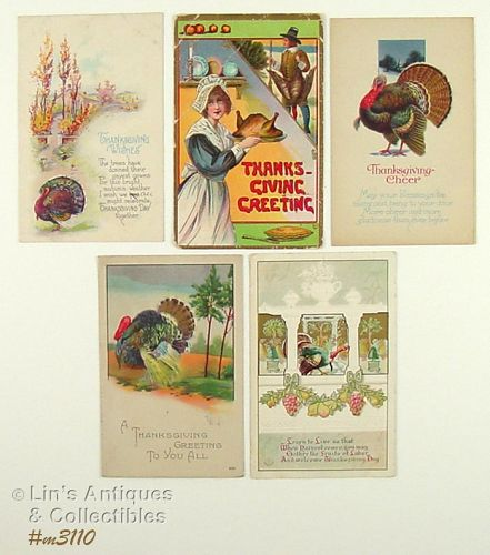 FIVE THANKSGIVING POSTCARDS