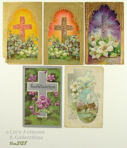 FIVE EASTER POSTCARDS (CROSSES AND FLOWERS)