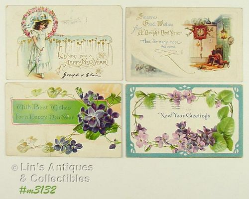 FOUR NEW YEAR GREETINGS POSTCARDS