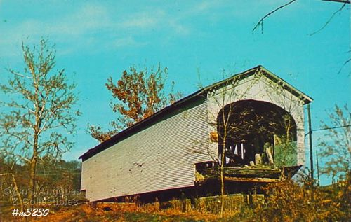 COVERED BRIDGE POSTCARD – DEARBORN COUNTY, INDIANA COVERED BRIDGE