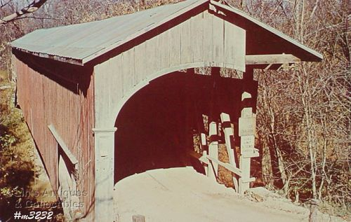 COVERED BRIDGE POSTCARD – COVERED BRIDGE, MONROE COUNTY, INDIANA
