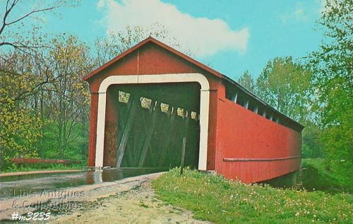 POSTCARD – COVERED BRIDGE, ADAMS COUNTY, INDIANA