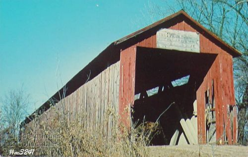 COVERED BRIDGE POSTCARD – OLD RED BRIDGE, GIBSON COUNTY, INDIANA