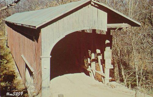 COVERED BRIDGE POSTCARD – COVERED BRIDGE, MONROE COUNTY, INDIANA
