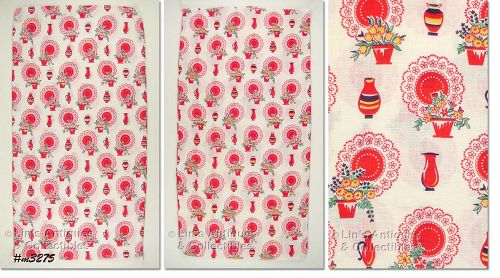 RED AND WHITE KITCHEN THEME VINTAGE FEED SACK FEEDSACK 2 AVAILABLE