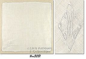 "WHITE HANDKERCHIEF WITH WHITE ""M"" MONOGRAM"