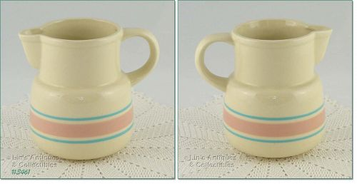 """McCOY POTTERY – PINK AND BLUE PITCHER (6"""")"""