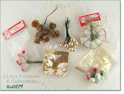 ASSORTED DECORATIONS FOR TREES, PACKAGES, ETC.