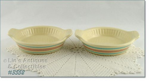 McCOY POTTERY – PINK AND BLUE QUICHE DISHES (2)