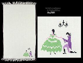 FINGERTIP TOWEL WITH CROSS-STITCHED COUPLE