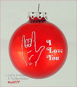 """I LOVE YOU"" -- SIGN LANGUAGE RED GLASS ORNAMENT"