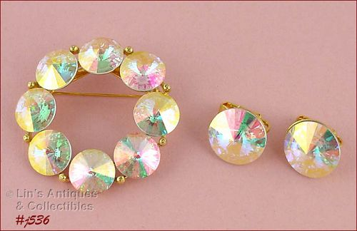 VINTAGE WEISS PIN AND MATCHING CLIP BACK EARRINGS