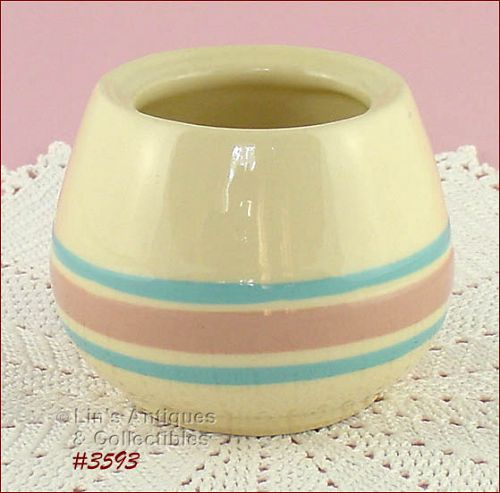 McCOY POTTERY – PINK AND BLUE SUGAR (NO LID)