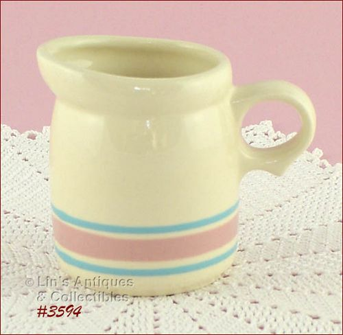 McCOY POTTERY – PINK AND BLUE CREAMER